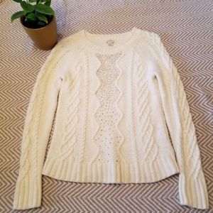 J. Crew Embellished Cable- Knitted Ivory Sweater